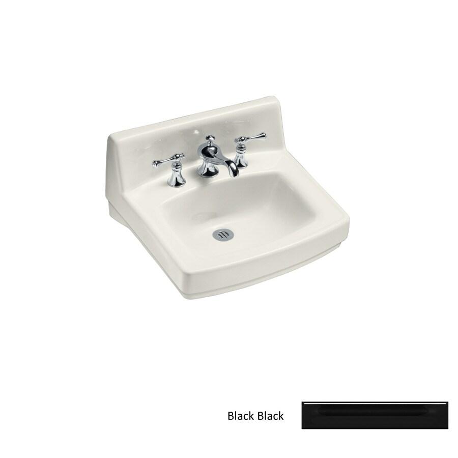 KOHLER Greenwich Black Black Wall-Mount Rectangular Bathroom Sink with Overflow