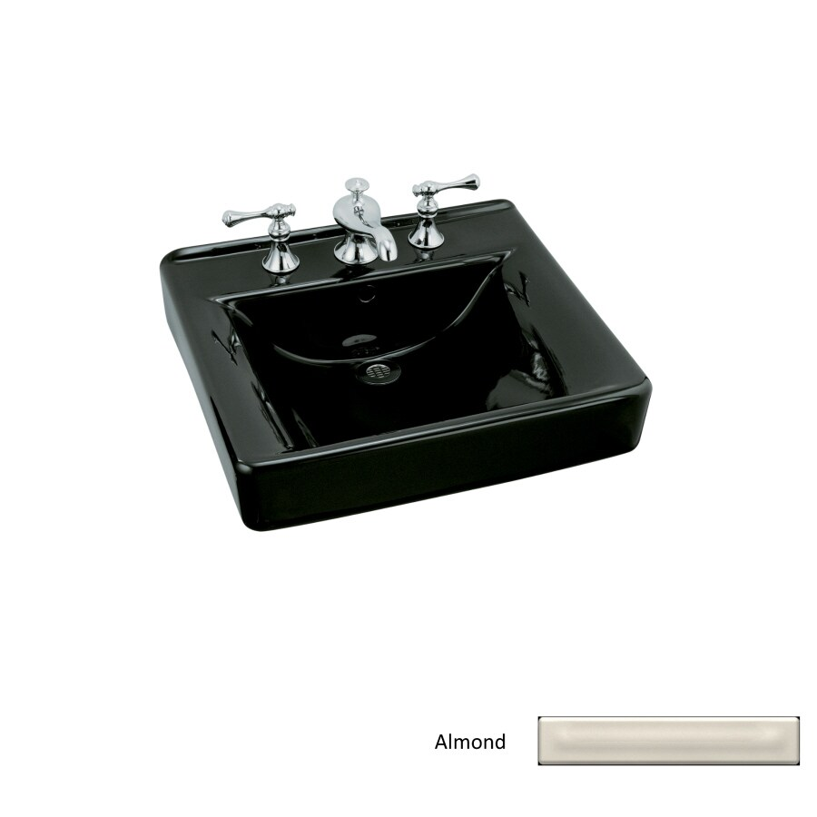 KOHLER Soho Almond Wall-Mount Rectangular Bathroom Sink with Overflow