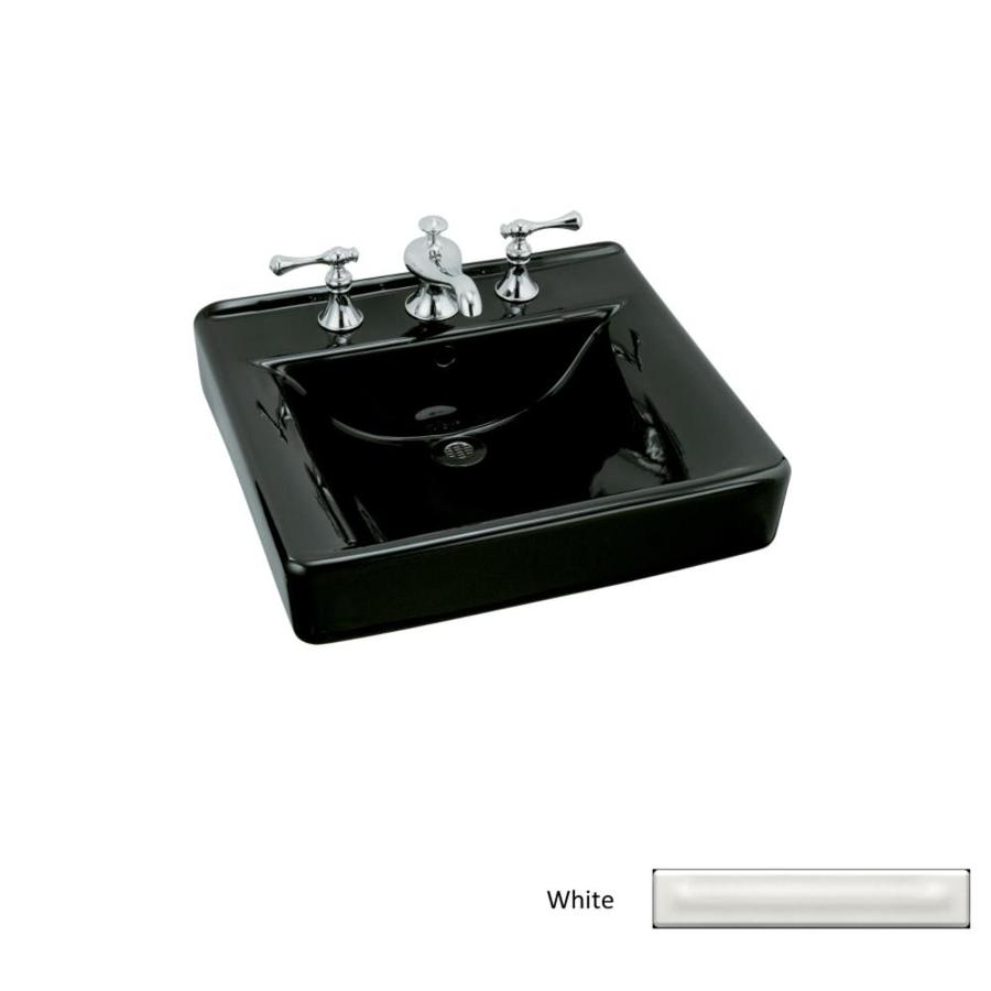 kohler wall mount bathroom sink shop kohler soho white wall mount rectangular bathroom 23590