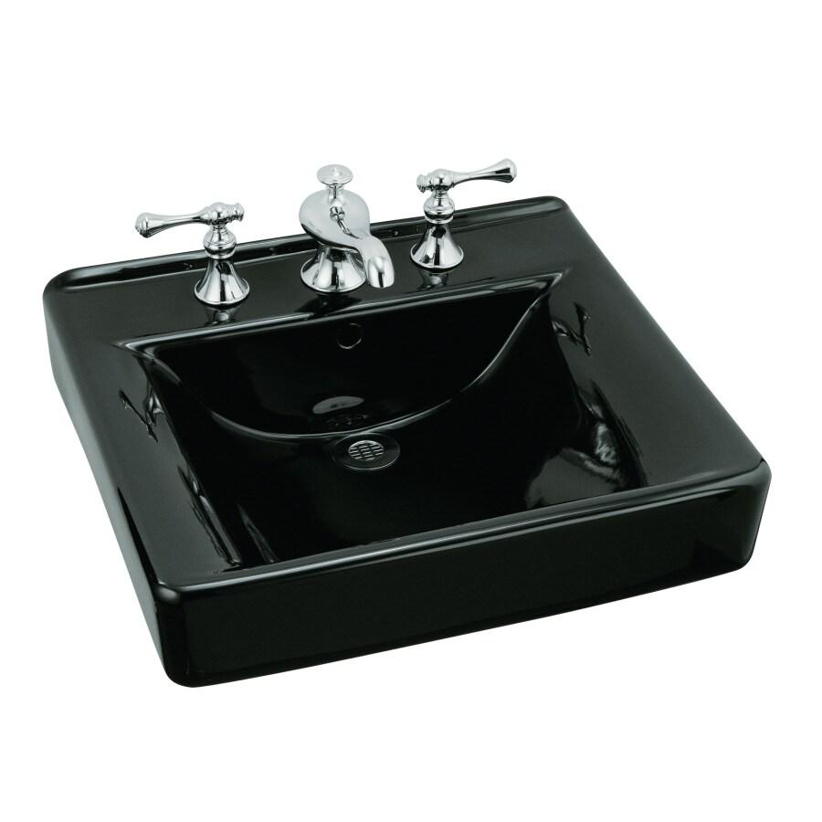 KOHLER Soho Black Wall-Mount Rectangular Bathroom Sink with Overflow