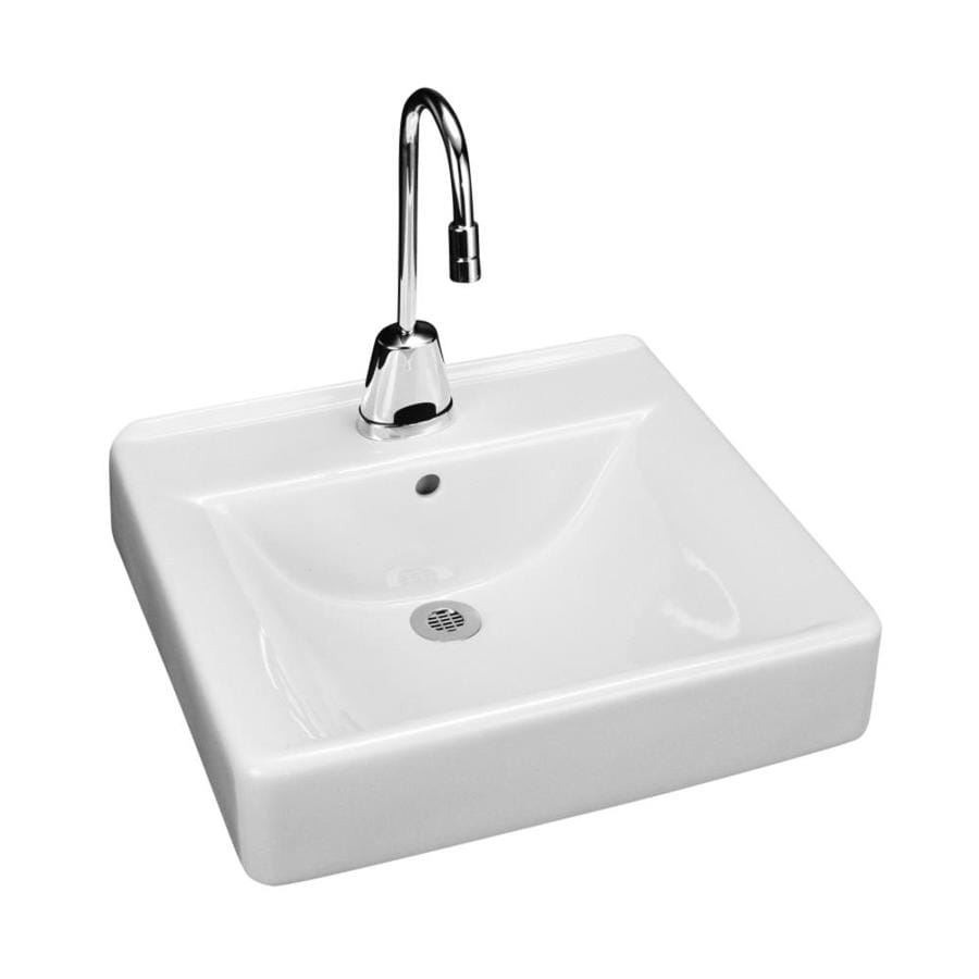 KOHLER Soho White Wall-Mount Rectangular Bathroom Sink with Overflow