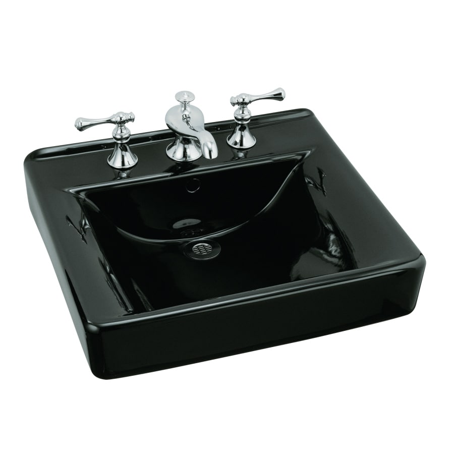 KOHLER Soho Black Wall-Mount Rectangular Bathroom Sink with Overflow