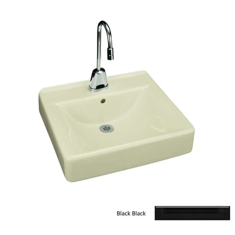 KOHLER Soho Black Black Wall-Mount Rectangular Bathroom Sink with Overflow