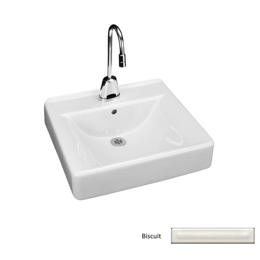 KOHLER Soho Biscuit Wall-Mount Rectangular Bathroom Sink with Overflow