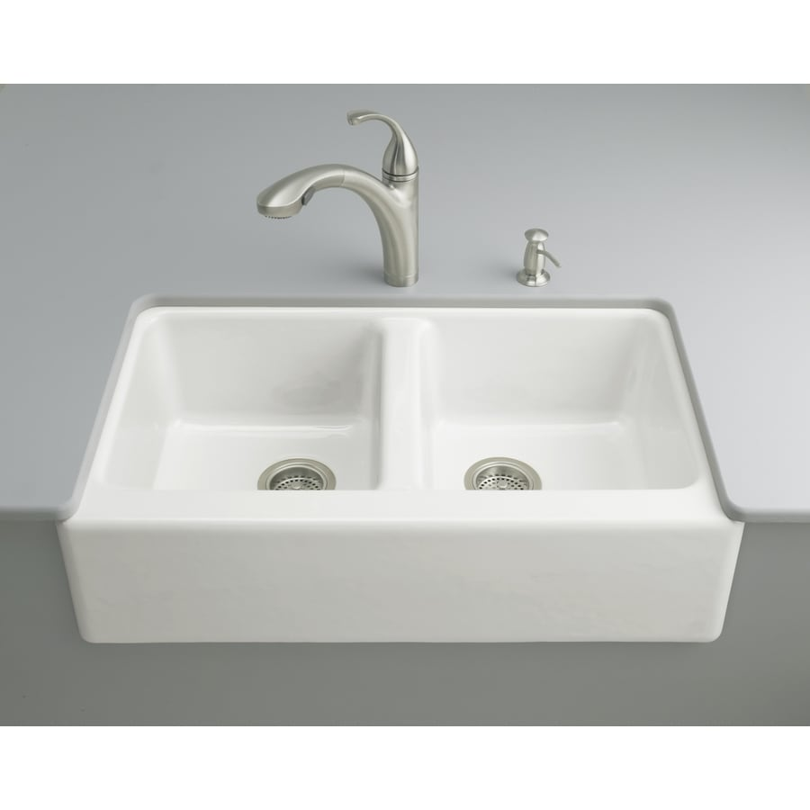 Shop kohler hawthorne x 33 in white double basin cast iron apron front farmhouse 4 hole - Kitchen sinks apron front ...