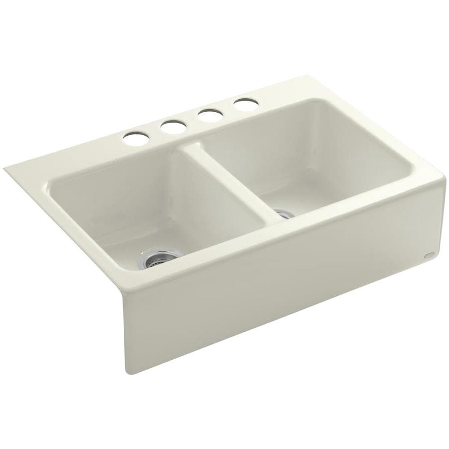 KOHLER Hawthorne 22.12-in x 33-in Biscuit Double-Basin Cast Iron Apron Front/Farmhouse 4-Hole Residential Kitchen Sink