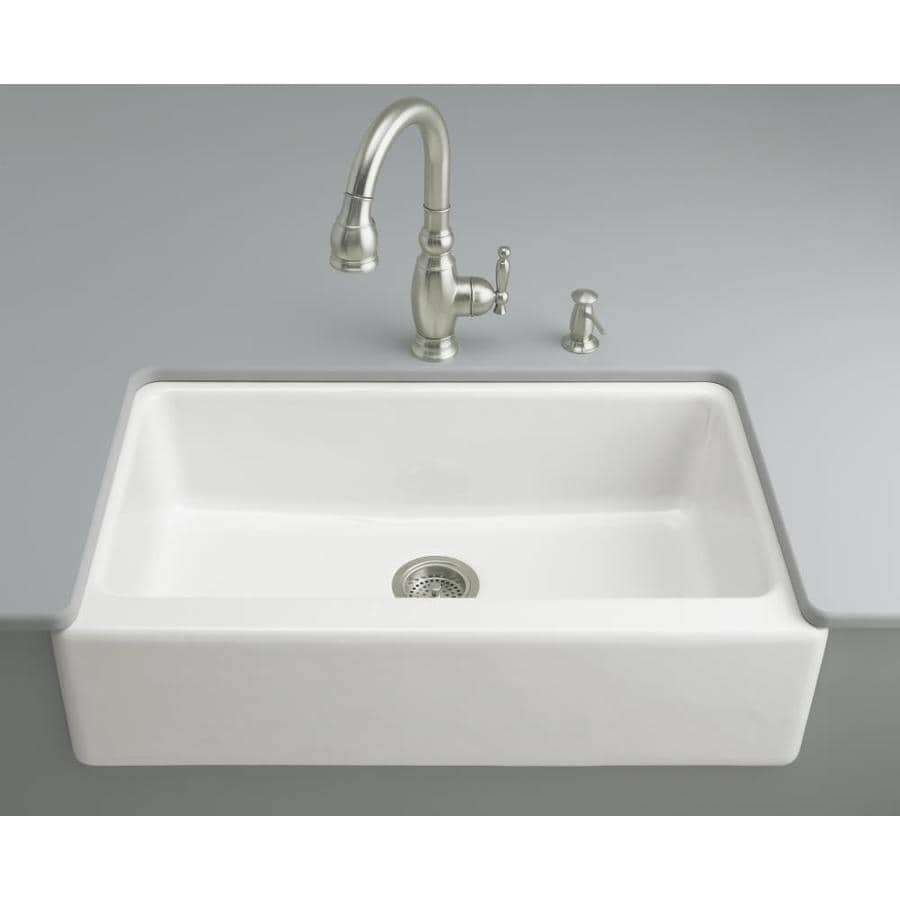 Shop KOHLER Dickinson 22.12-in x 33-in White Single-Basin Cast ...