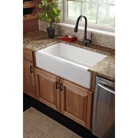 Shop kohler dickinson x 33 in white single basin cast iron apron front farmhouse 4 hole - Kohler dickinson apron front sink ...