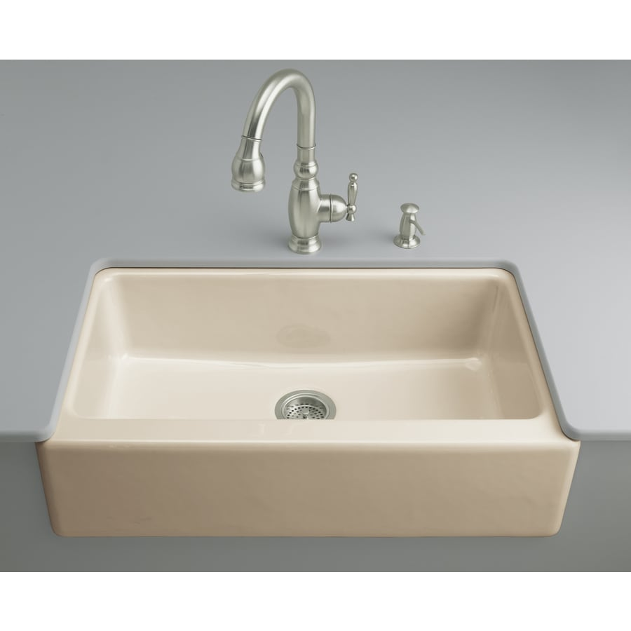 Shop kohler dickinson x 33 in almond single basin cast iron apron front farmhouse 4 - Kitchen sinks apron front ...