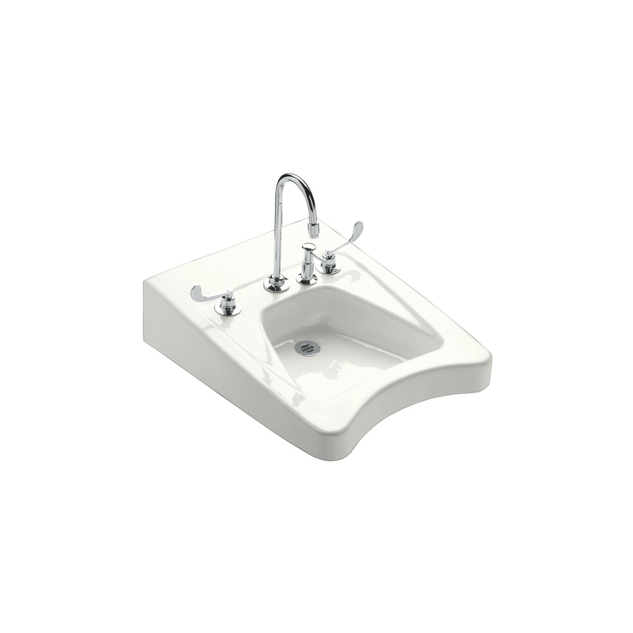 KOHLER Morningside White Wall-Mount Rectangular Bathroom Sink with Overflow