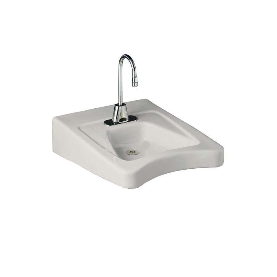 KOHLER Morningside White Wall-Mount Rectangular Bathroom Sink with Overflow