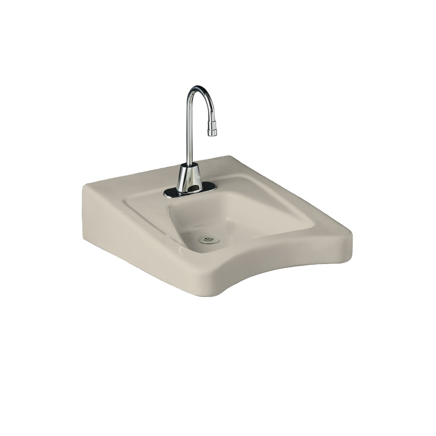 KOHLER Morningside Almond Wall-Mount Rectangular Bathroom Sink with Overflow