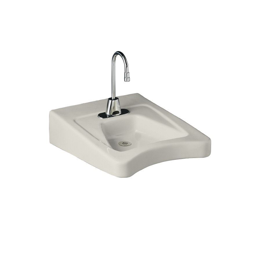 KOHLER Morningside Biscuit Wall-Mount Rectangular Bathroom Sink with Overflow