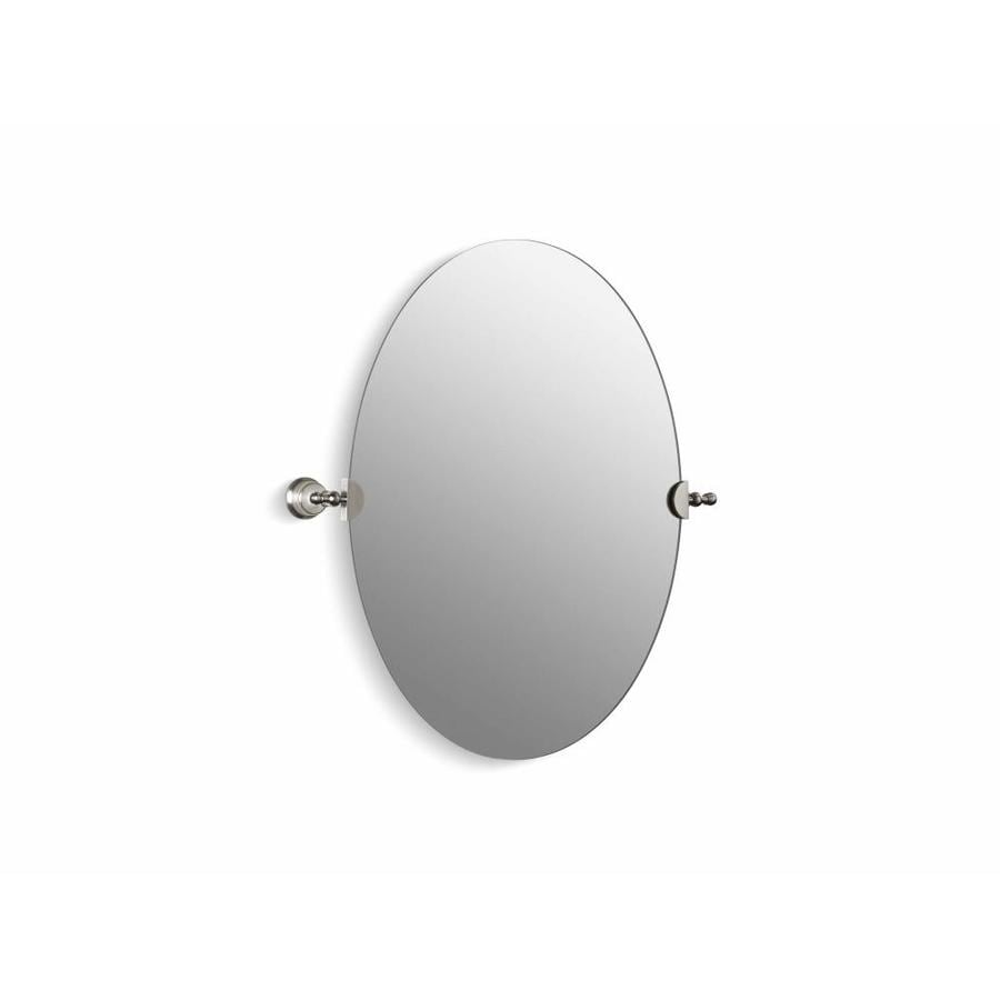 KOHLER Revival 26.125-in W x 28.5-in H Oval Tilting Frameless Bathroom Mirror with Vibrant Brushed Nickel Hardware and Polished Edges