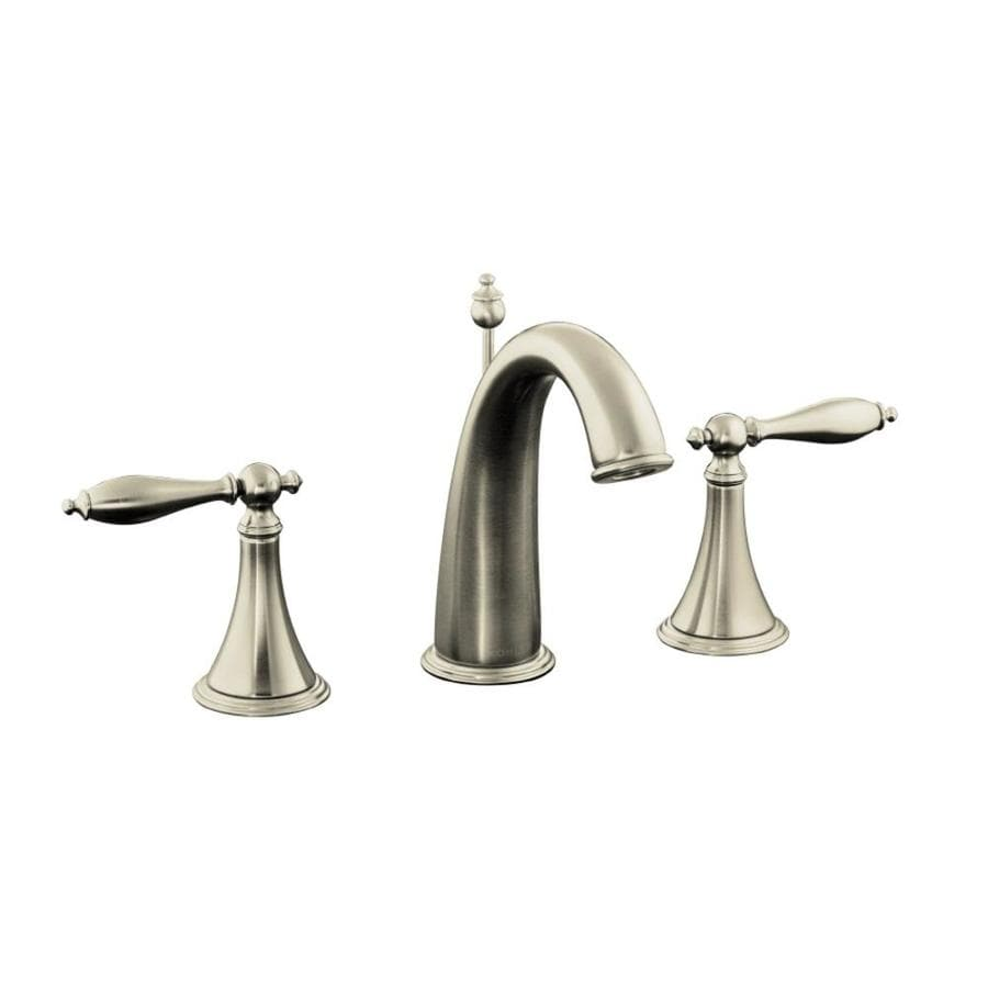 Shop Kohler Finial Vibrant Brushed Nickel 2 Handle Widespread Watersense Bathroom Faucet Drain