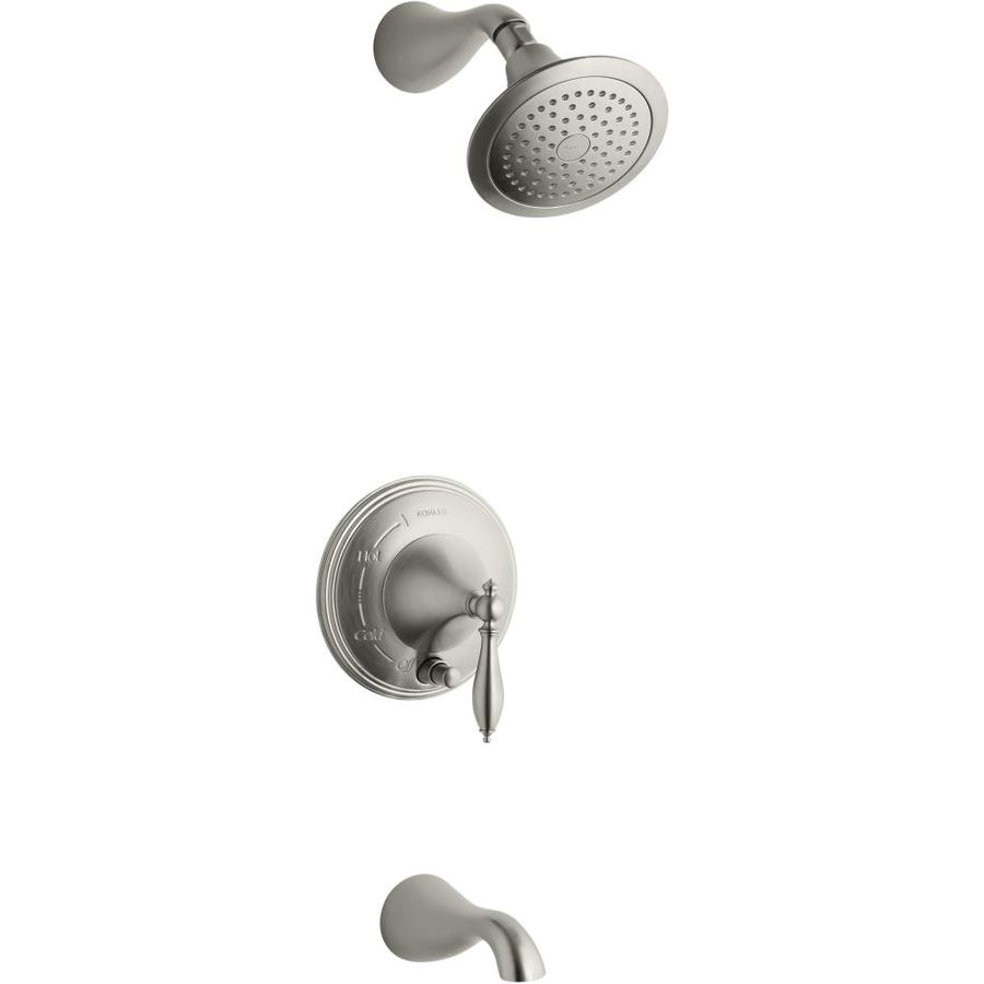 KOHLER Forte Vibrant Brushed Nickel 1-Handle Bathtub and Shower Faucet Trim Kit with Single Function Showerhead
