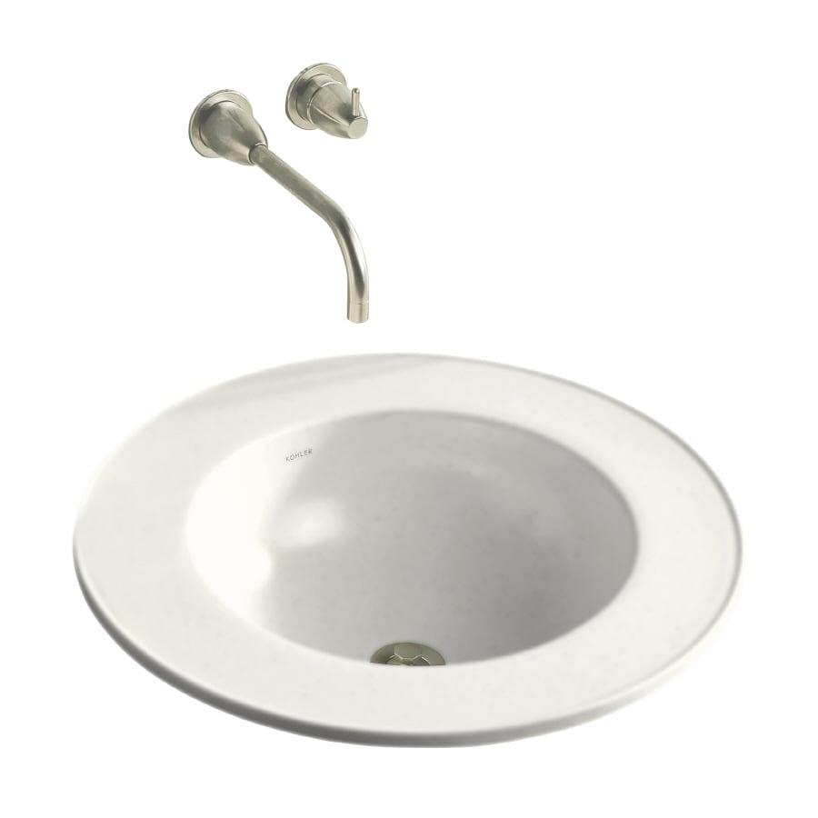 Shop kohler camber white drop in round bathroom sink at for Kohler round bathroom sinks