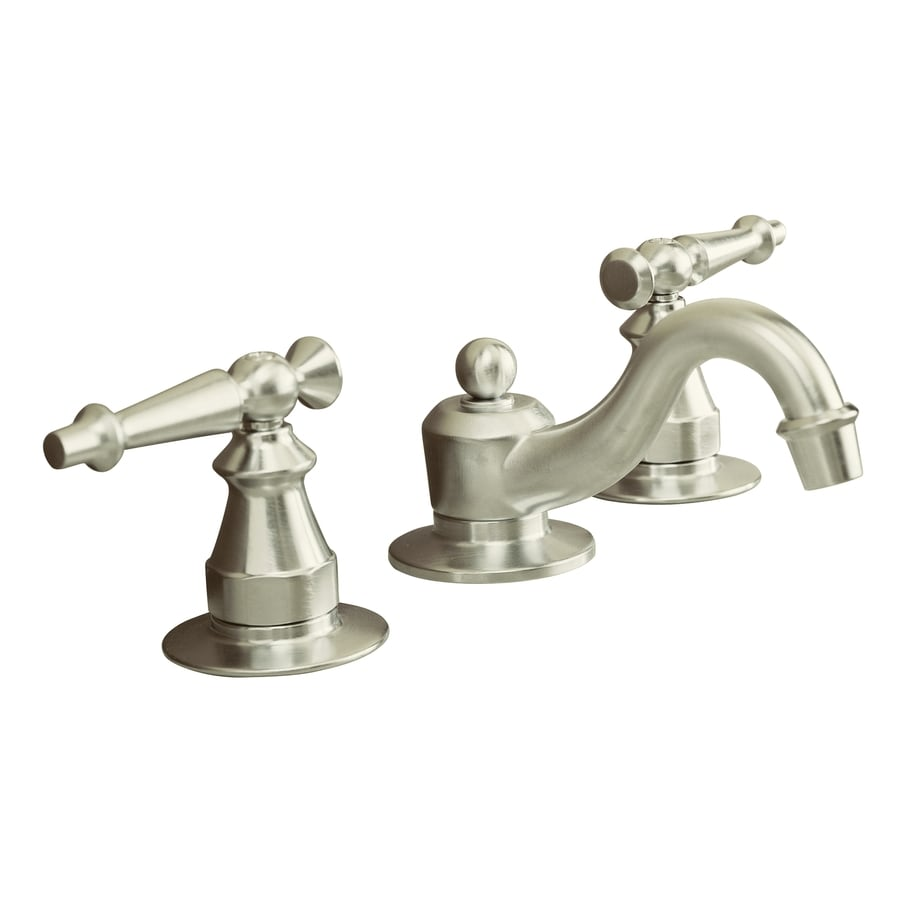 KOHLER Antique Brushed Nickel 2-Handle Widespread WaterSense Bathroom Faucet (Drain Included)