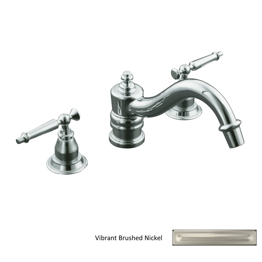 Kohler Tub Handles : Shop KOHLER Antique Vibrant Brushed Nickel 2-Handle Fixed Deck Mount ...