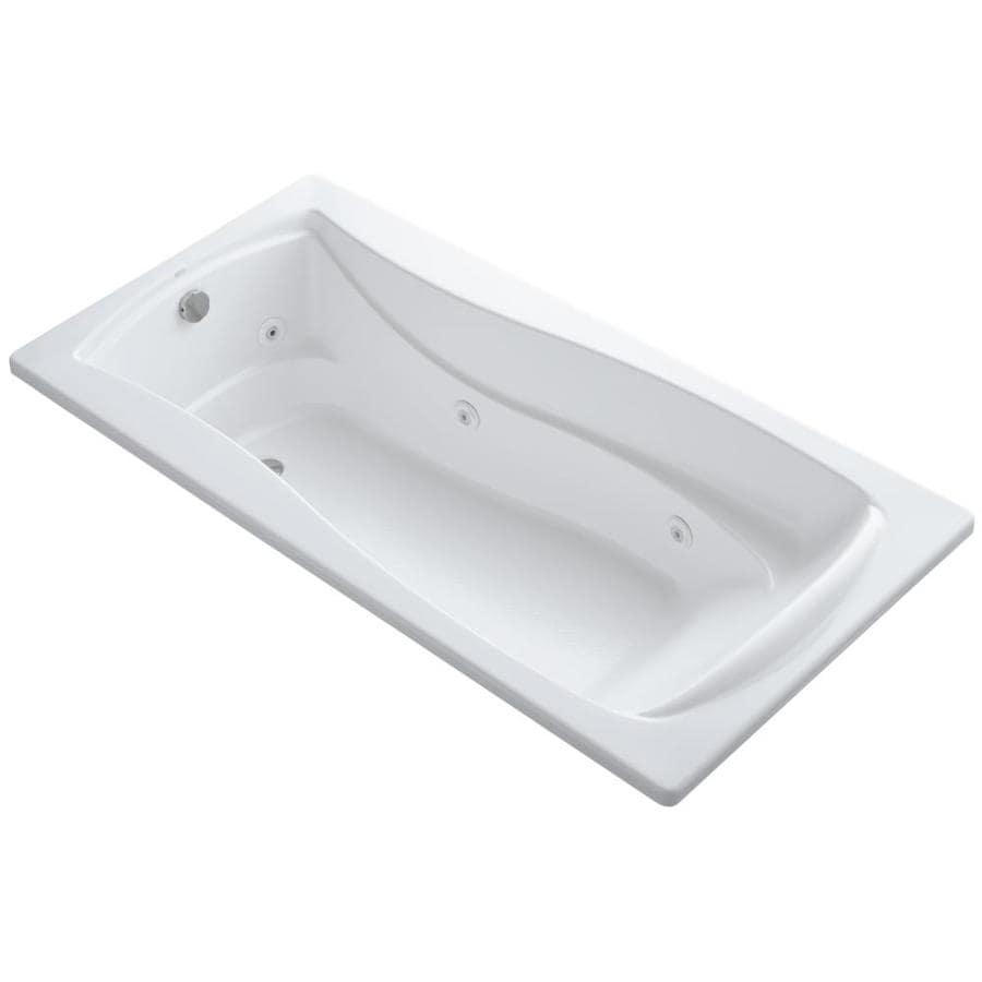 KOHLER Mariposa White Acrylic Hourglass In Rectangle Whirlpool Tub (Common: 36-in x 72-in; Actual: 20.0000-in x 36.0000-in x 72.0000-in)