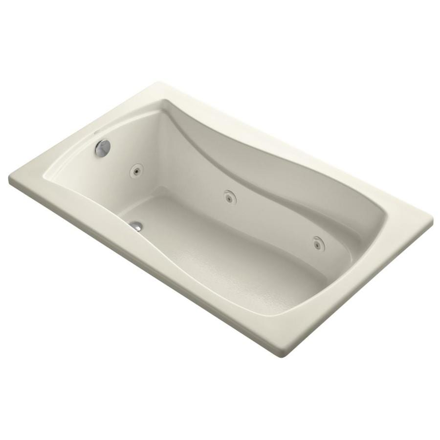 KOHLER Mariposa 60-in Almond Acrylic Drop-In Whirlpool Tub with Reversible Drain