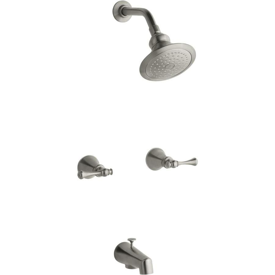 Shop Kohler Revival Vibrant Brushed Nickel 2 Handle Bathtub And Shower Faucet With Single