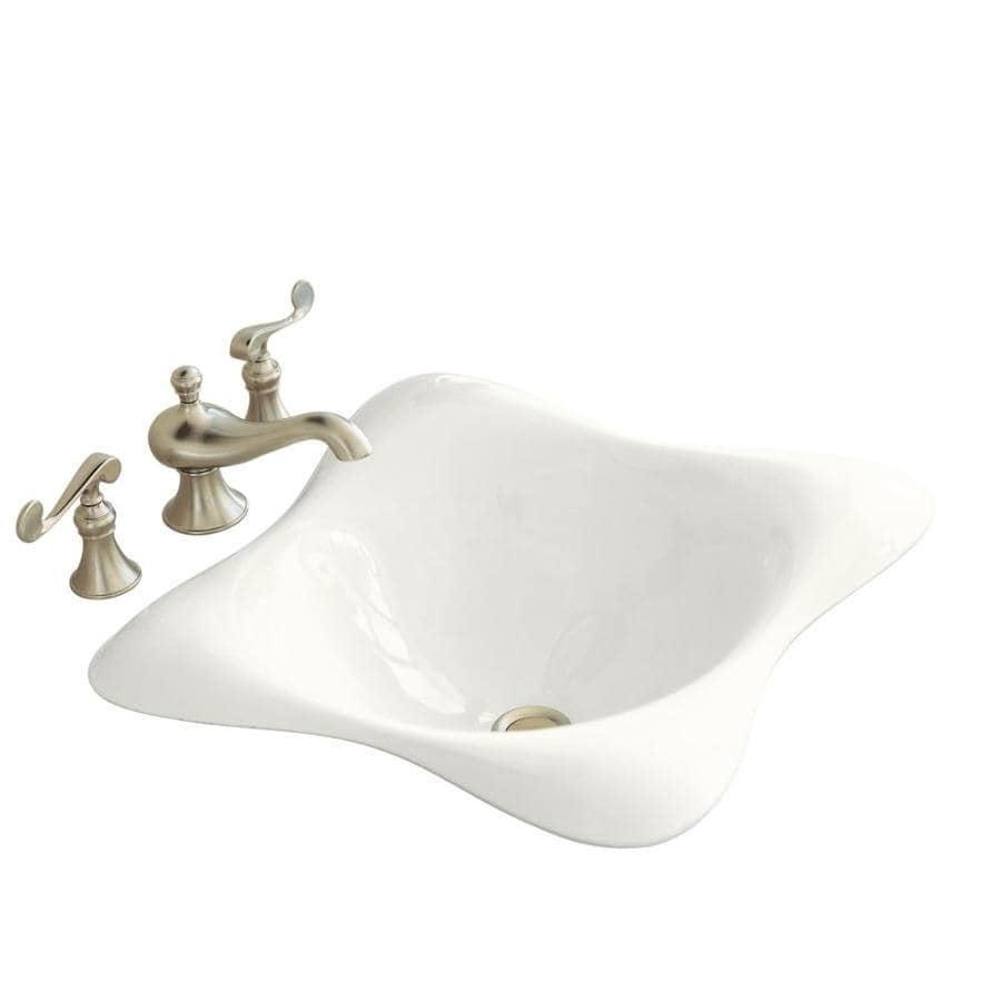 KOHLER Dolce Vita White Cast Iron Drop-in Square Bathroom Sink