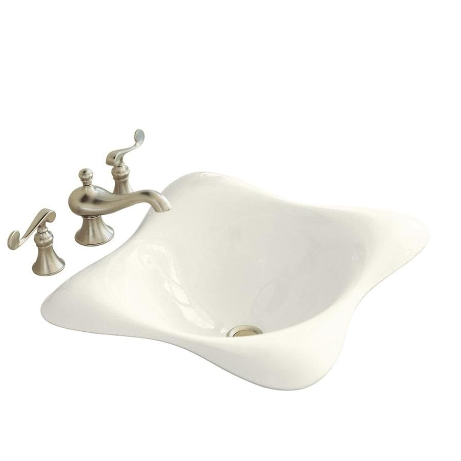 Shop kohler dolce vita biscuit cast iron drop in square bathroom sink at Kohler cast iron bathroom sink