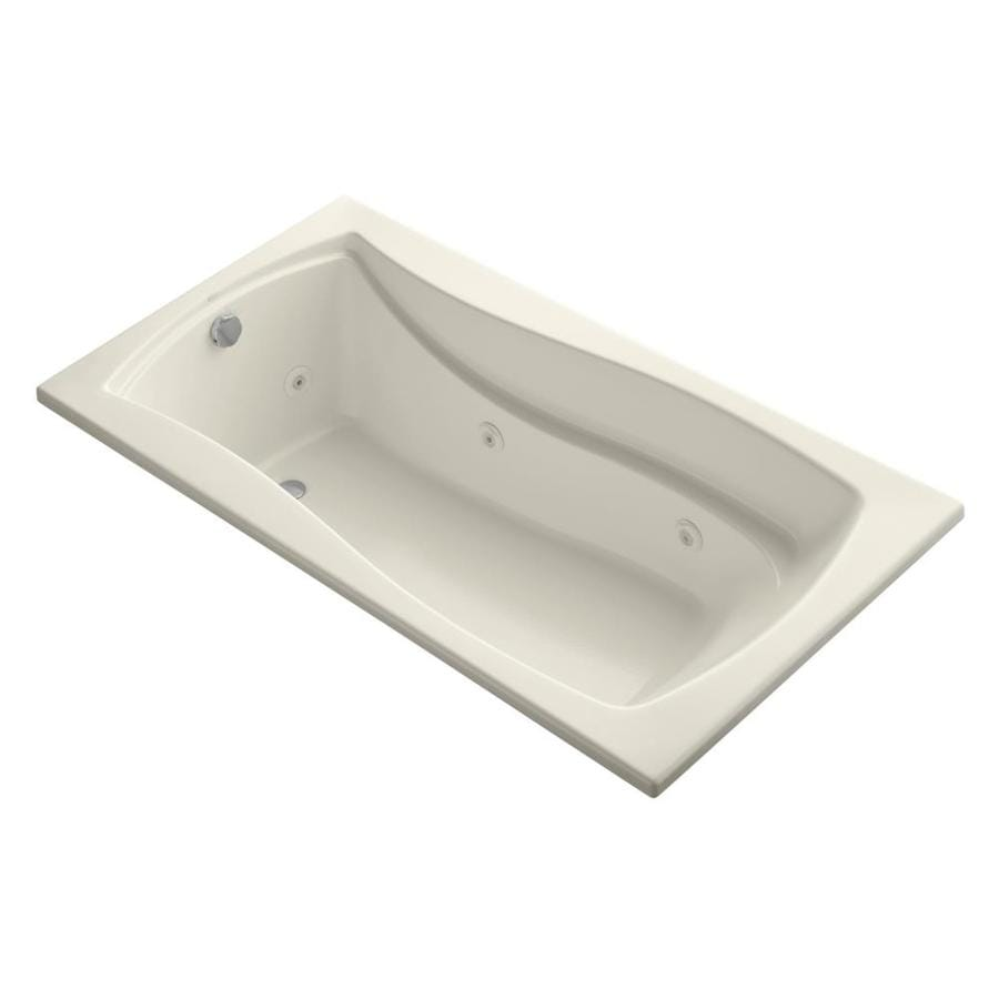 KOHLER Mariposa 66-in Almond Acrylic Drop-In Whirlpool Tub with Reversible Drain