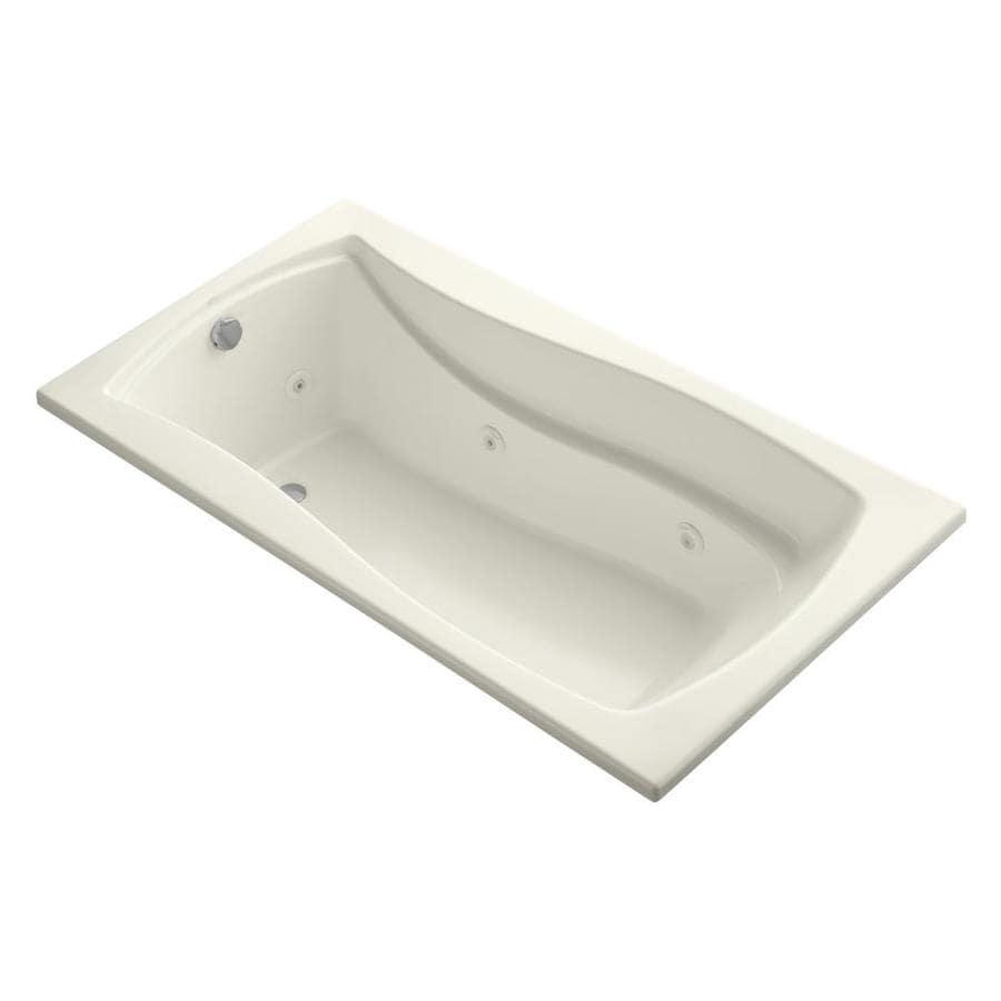 KOHLER Mariposa 66-in Biscuit Acrylic Drop-In Whirlpool Tub with Reversible Drain