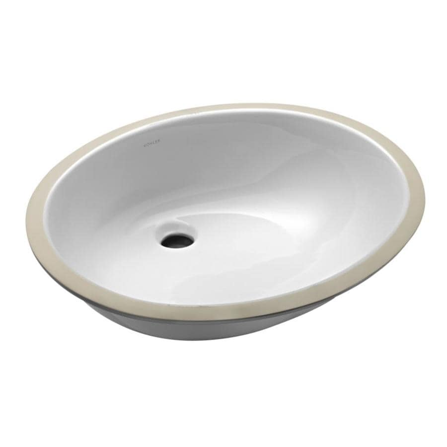 Shop Kohler Caxton White Undermount Oval Bathroom Sink At