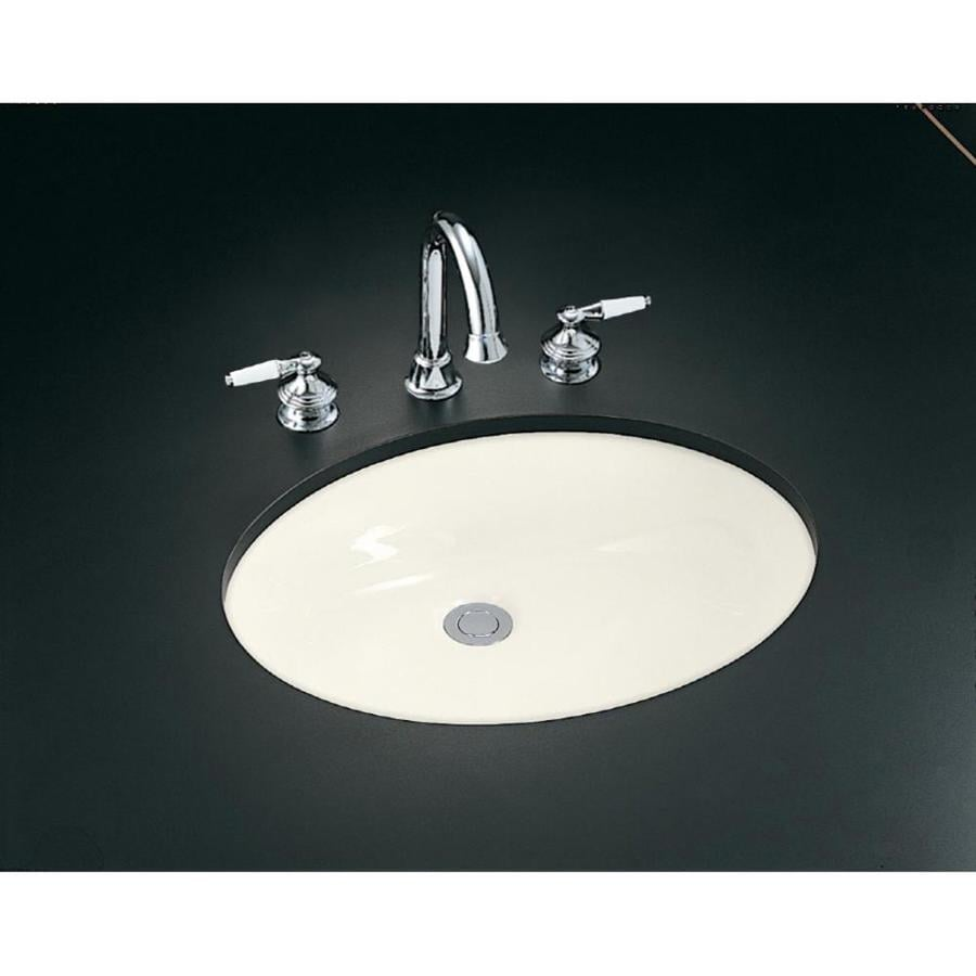 kohler undermount bathroom sink shop kohler caxton biscuit undermount oval bathroom sink 19038