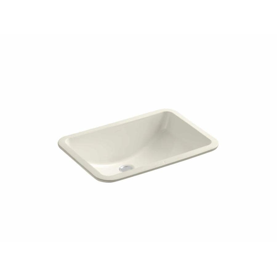 Shop kohler caxton biscuit undermount oval bathroom sink at lowes com - Shop Kohler Ladena Almond Undermount Rectangular Bathroom Sink At