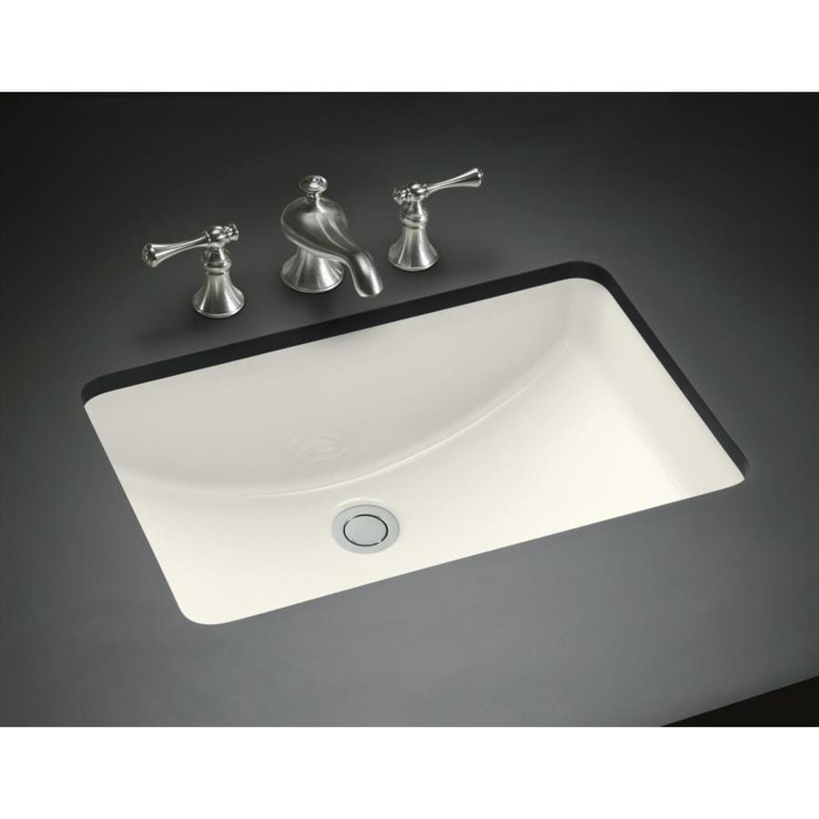 kohler undermount bathroom sink shop kohler ladena biscuit undermount rectangular bathroom 19038