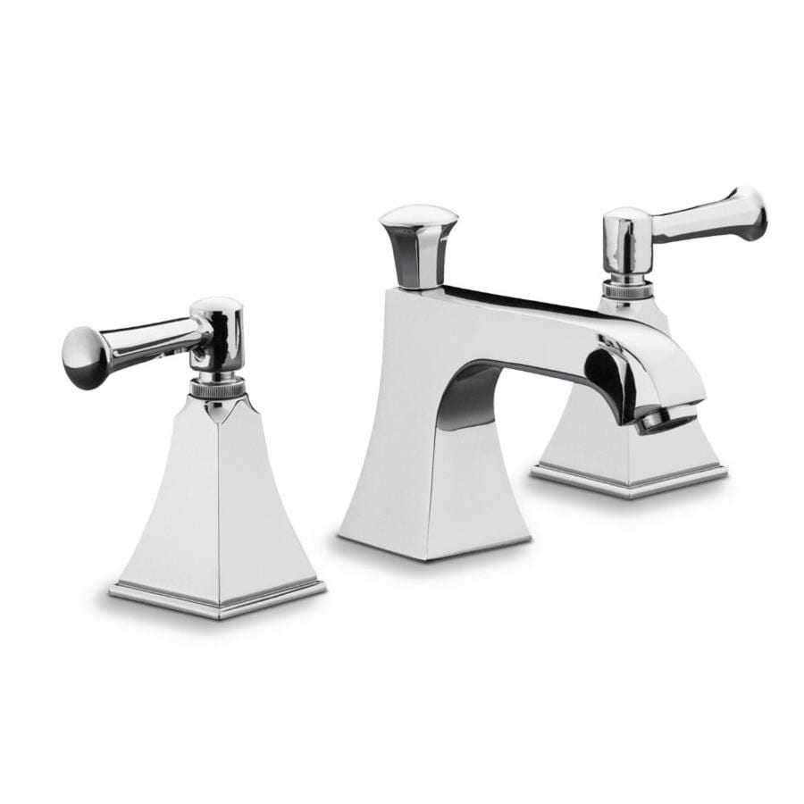 Kohler Memoirs Polished Chrome 2 Handle Widespread Watersense Bathroom Faucet Drain Included