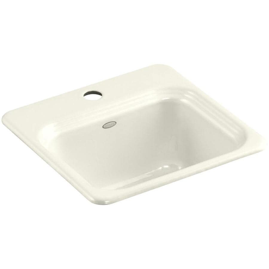 KOHLER Northland Biscuit 1-Hole Cast Iron Drop-in Commercial/Residential Bar Sink