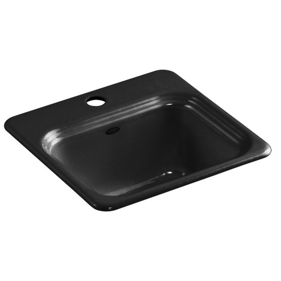 KOHLER Northland 15-in x 15-in Black Black Single-Basin Cast Iron Drop-in 1-Hole Residential Kitchen Sink