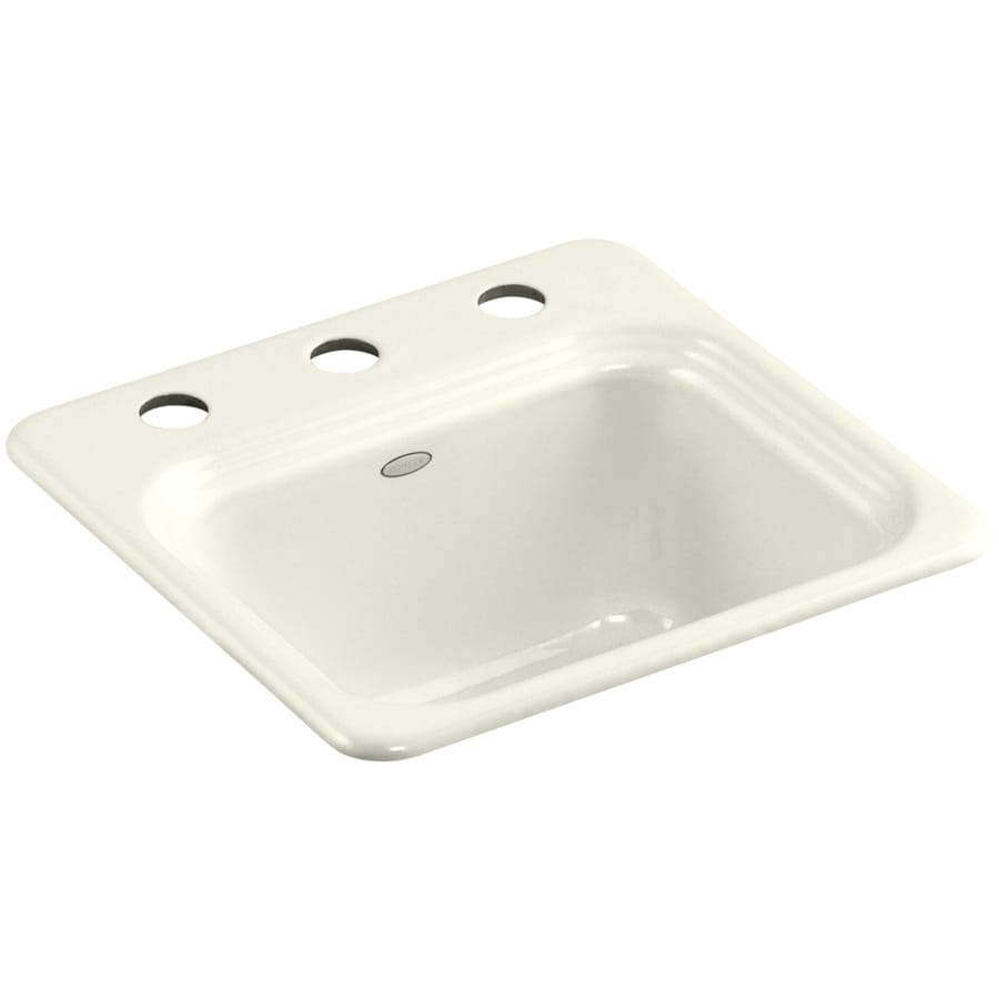 KOHLER Northland Biscuit 3-Hole Cast Iron Drop-in Commercial/Residential Bar Sink