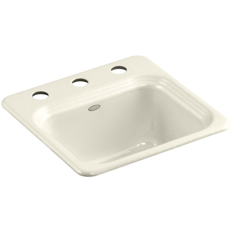 KOHLER Northland Almond 3-Hole Cast Iron Drop-in Commercial/Residential Bar Sink