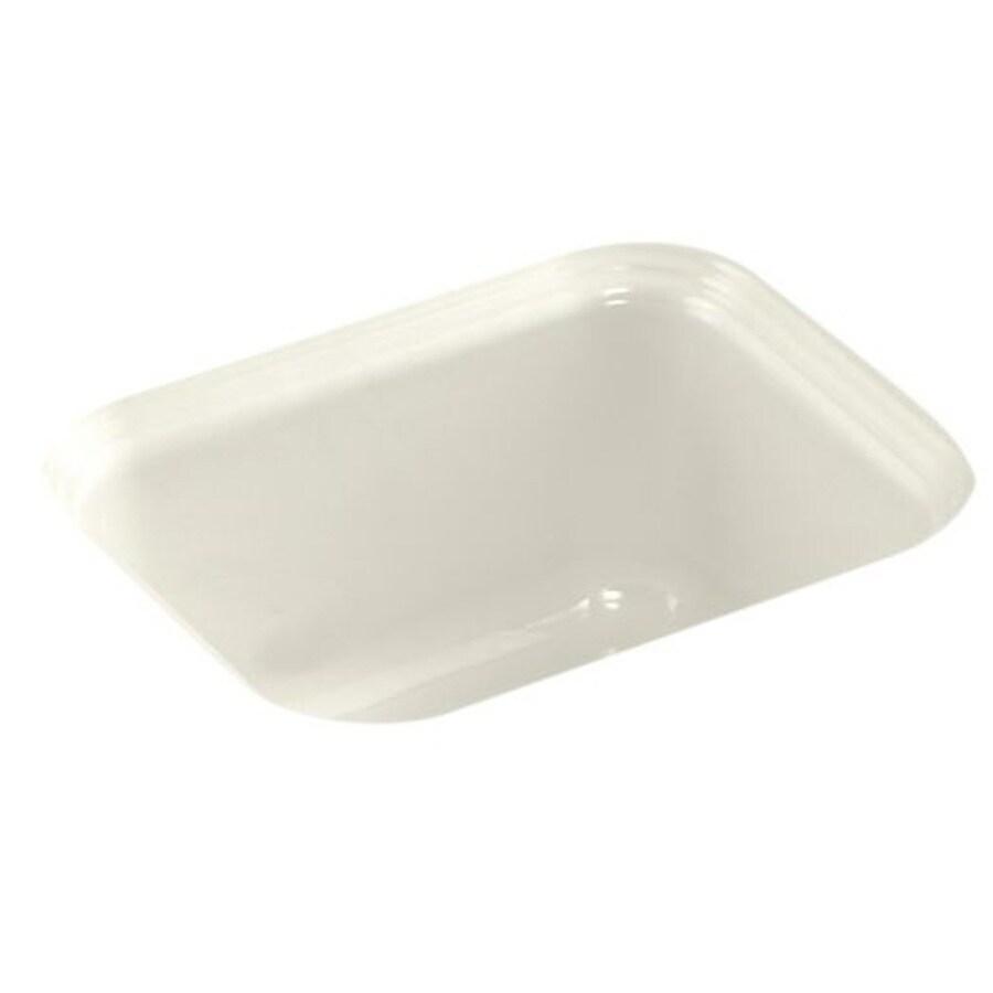 KOHLER Northland 12.3700-in x 15.0000-in Biscuit Single-Basin Cast Iron Undermount Residential Kitchen Sink