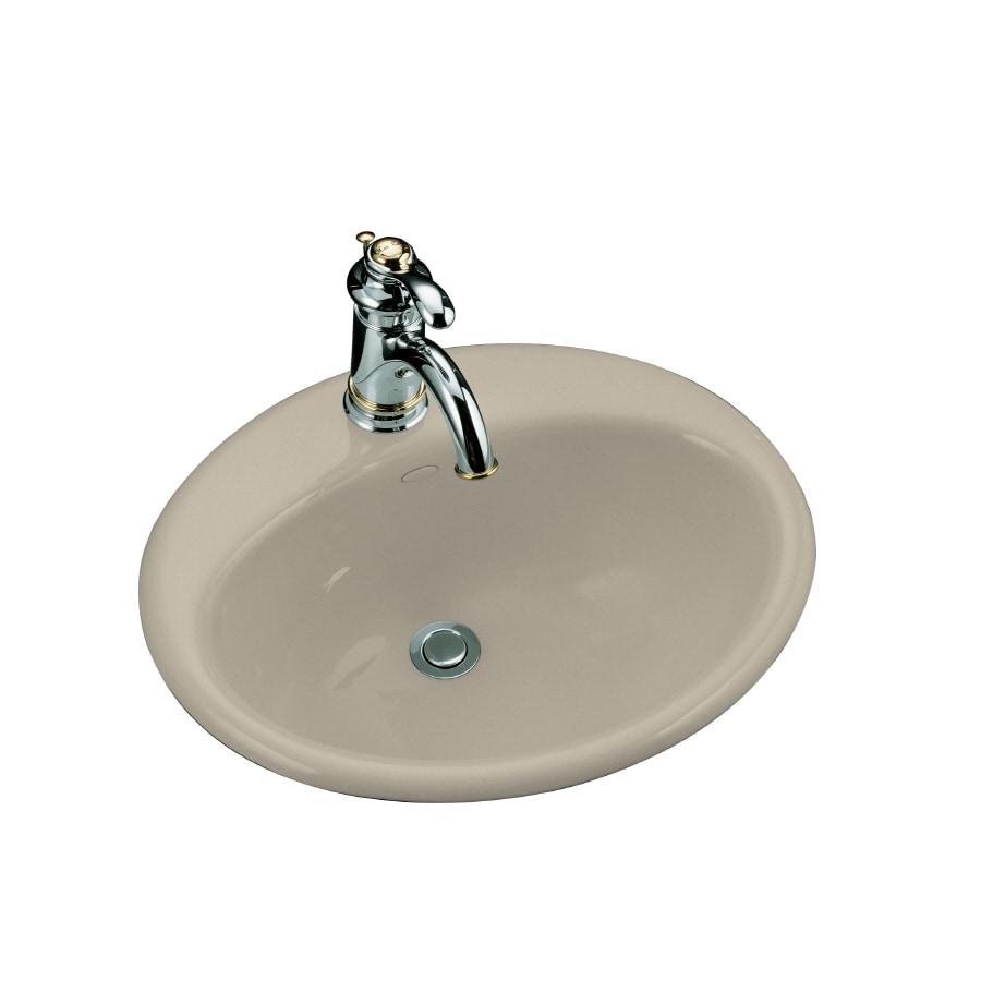 KOHLER Farmington Sandbar Cast Iron Drop-in Oval Bathroom Sink with Overflow