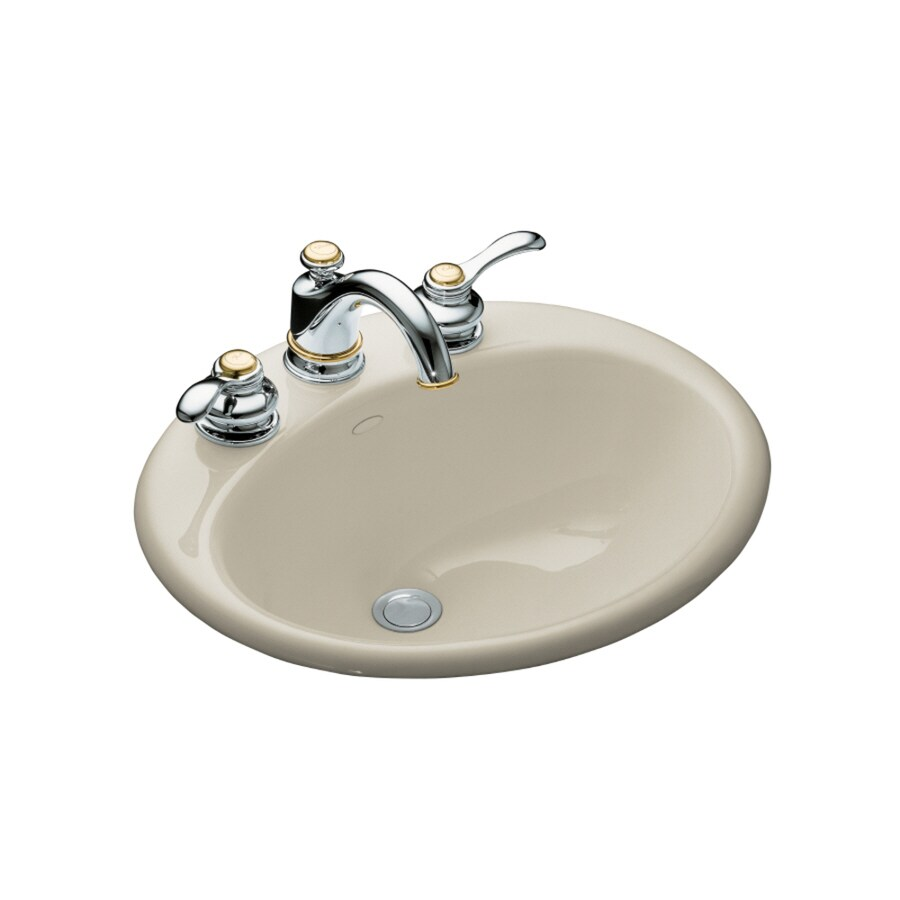 Shop Kohler Farmington Sandbar Cast Iron Drop In Oval Bathroom Sink With Overflow At