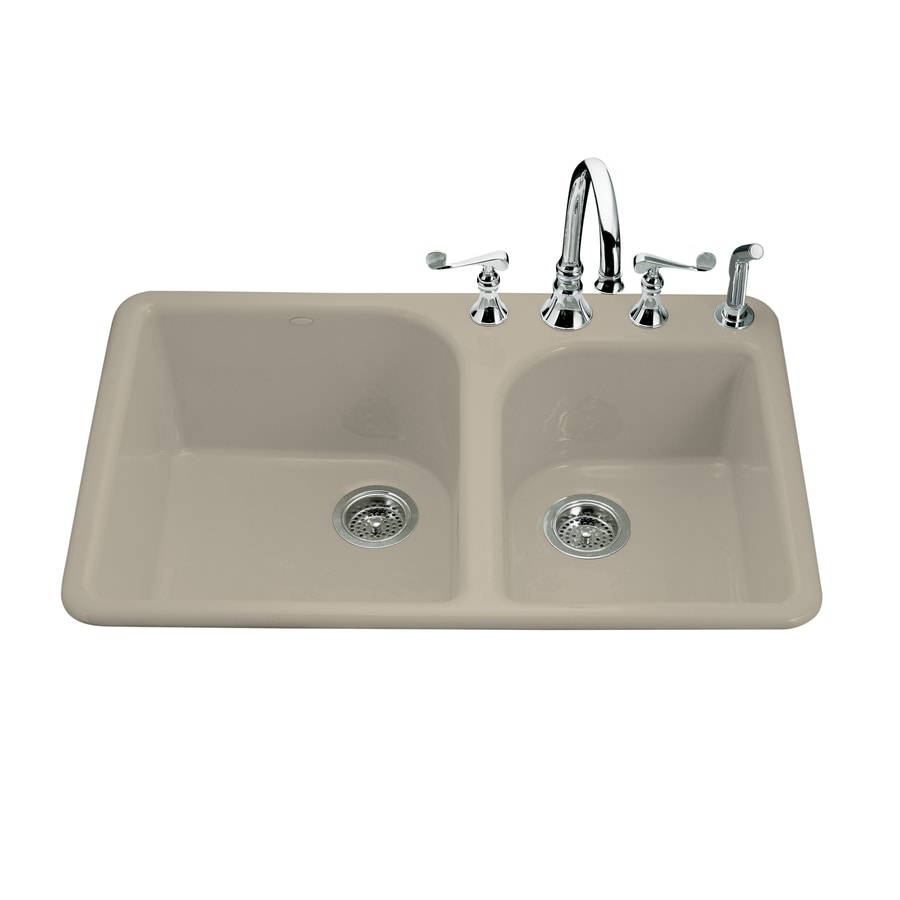 KOHLER Executive Chef 22-in x 33-in Sandbar Double-Basin Cast Iron Drop-in 4-Hole Residential Kitchen Sink