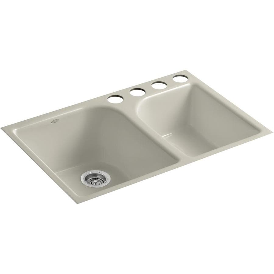 KOHLER Executive Chef 22-in x 33-in Sandbar Double-Basin Cast Iron Undermount 4-Hole Residential Kitchen Sink