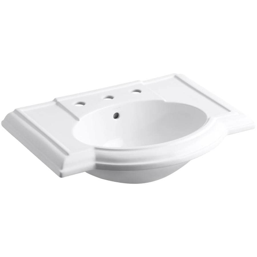 KOHLER Devonshire 27.5-in L x 19.875-in W White Vitreous China Oval Pedestal Sink Top