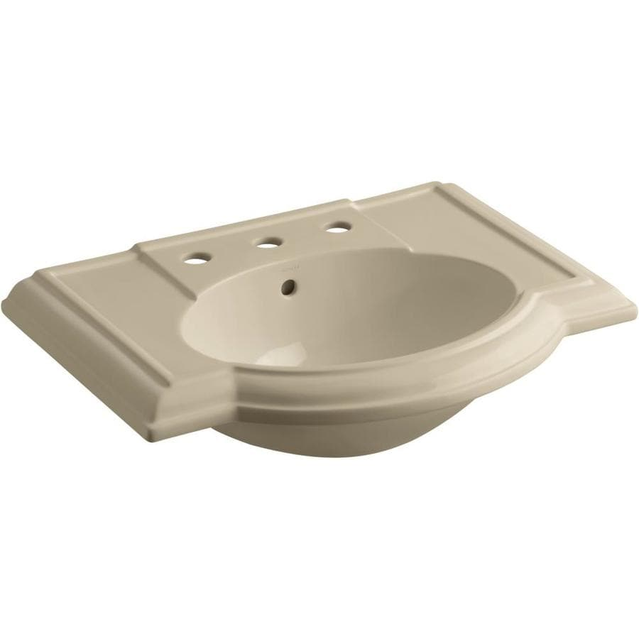 KOHLER Devonshire 27.5-in L x 19.875-in W Mexican Sand Vitreous China Oval Pedestal Sink Top