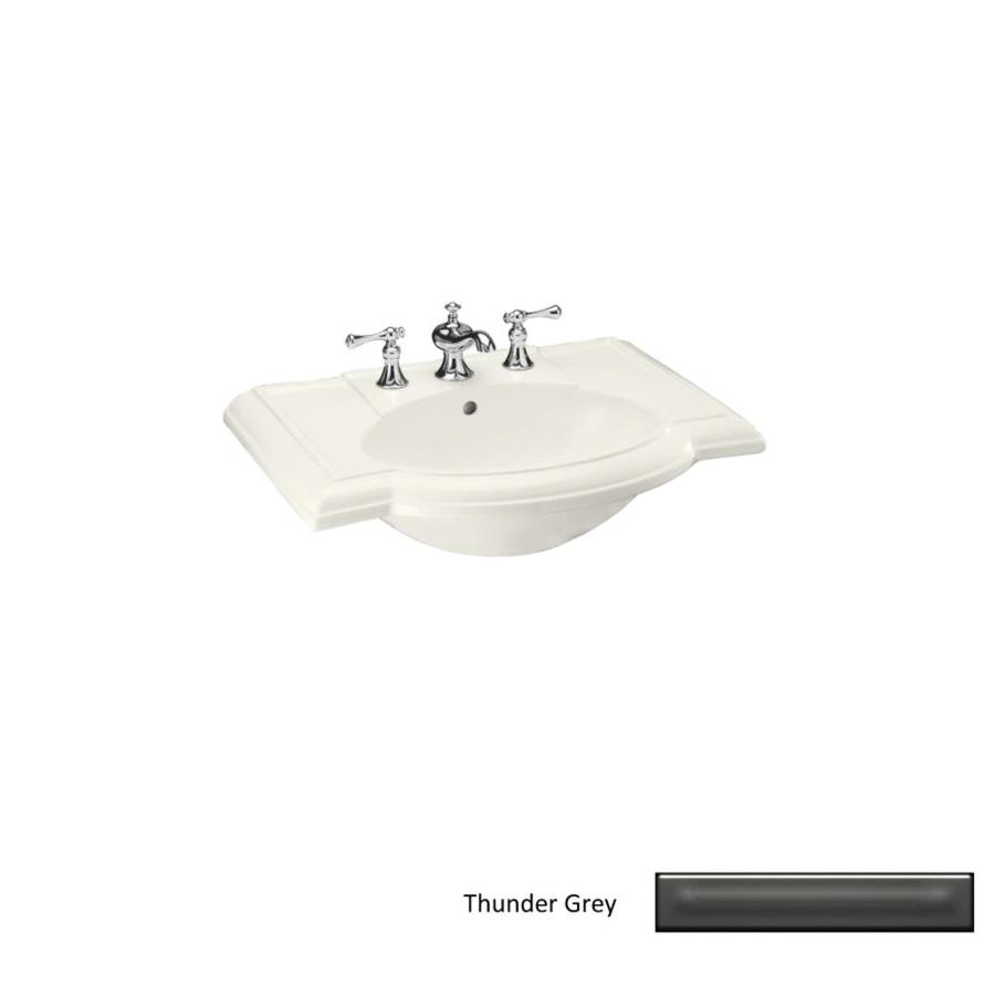 KOHLER Devonshire 27.5-in L x 19.88-in W Thunder Grey Vitreous China Oval Pedestal Sink Top