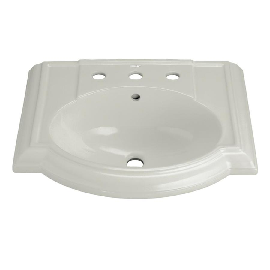 KOHLER Devonshire 24.13-in L x 19.75-in W Ice Grey Vitreous China Oval Pedestal Sink Top