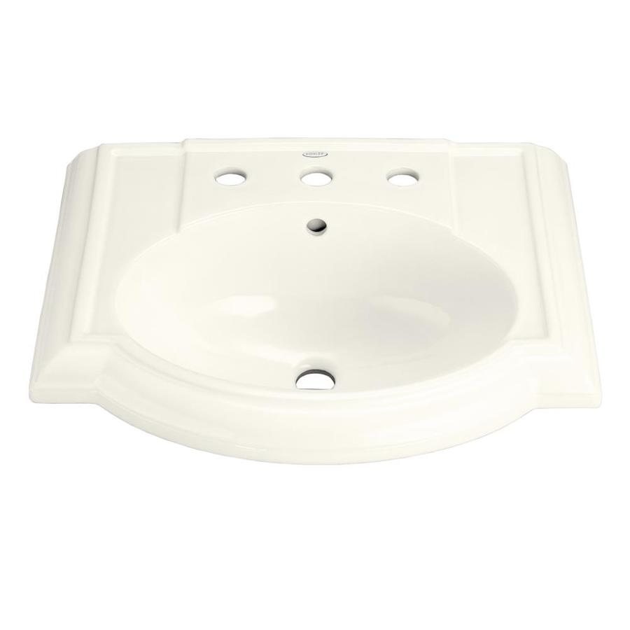 KOHLER Devonshire 24.125-in L x 19.75-in W Biscuit Vitreous China Oval Pedestal Sink Top