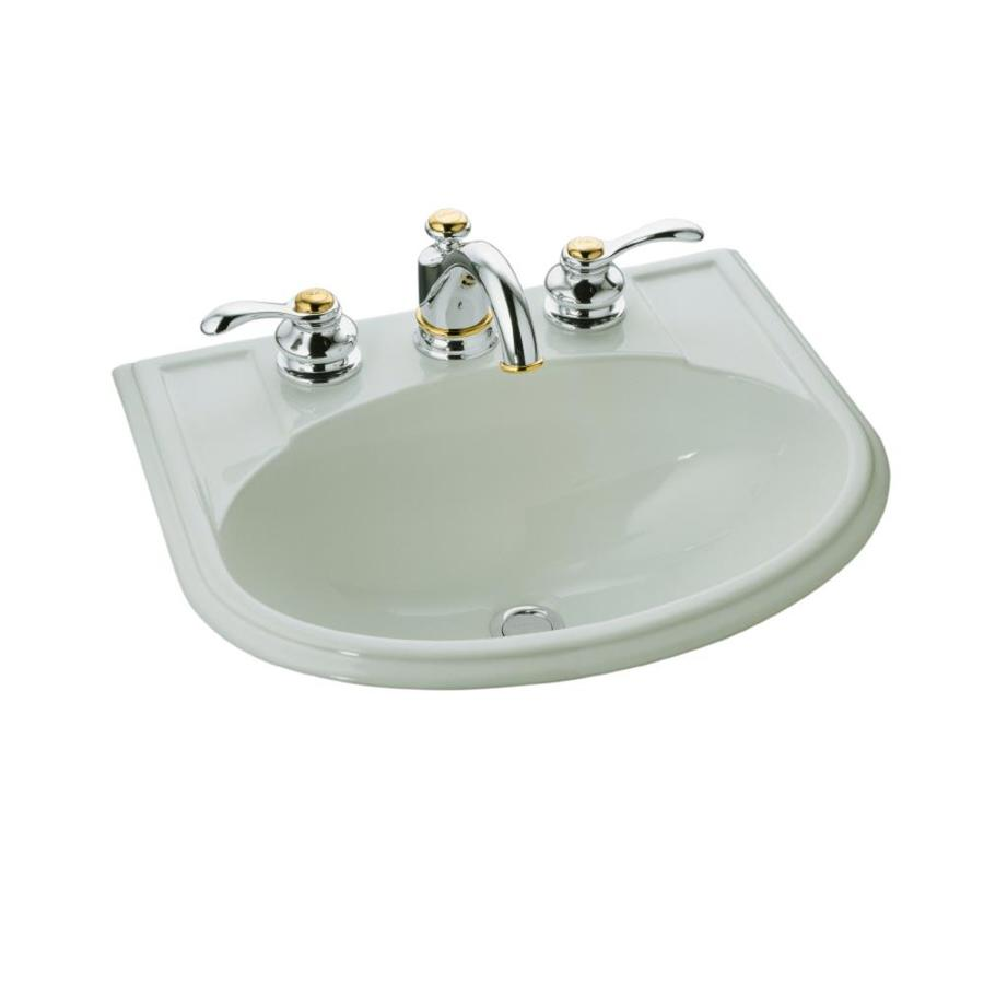 KOHLER Devonshire Ice Grey Drop-in Oval Bathroom Sink with Overflow